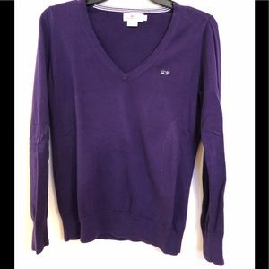 Vineyard Vines S Dark Purple Cotton V Neck